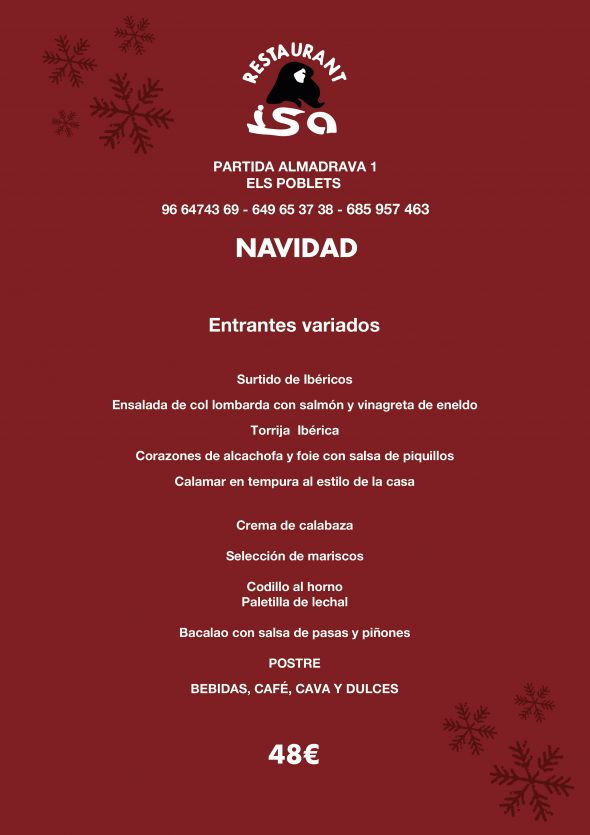 Image: Menu de Noël au restaurant Isa