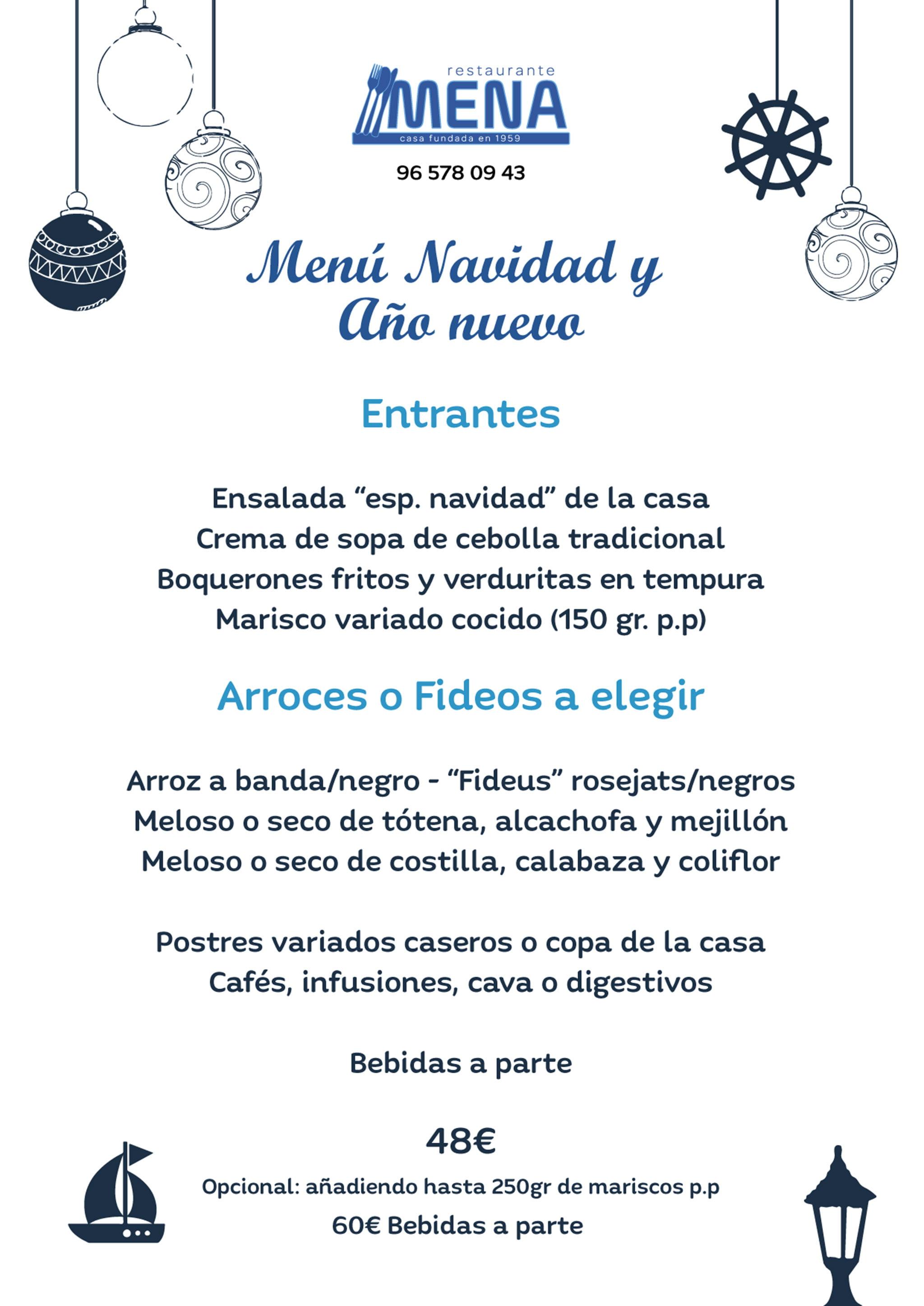 Menú de Nadal i Any Nou a Dénia - Restaurant Mena