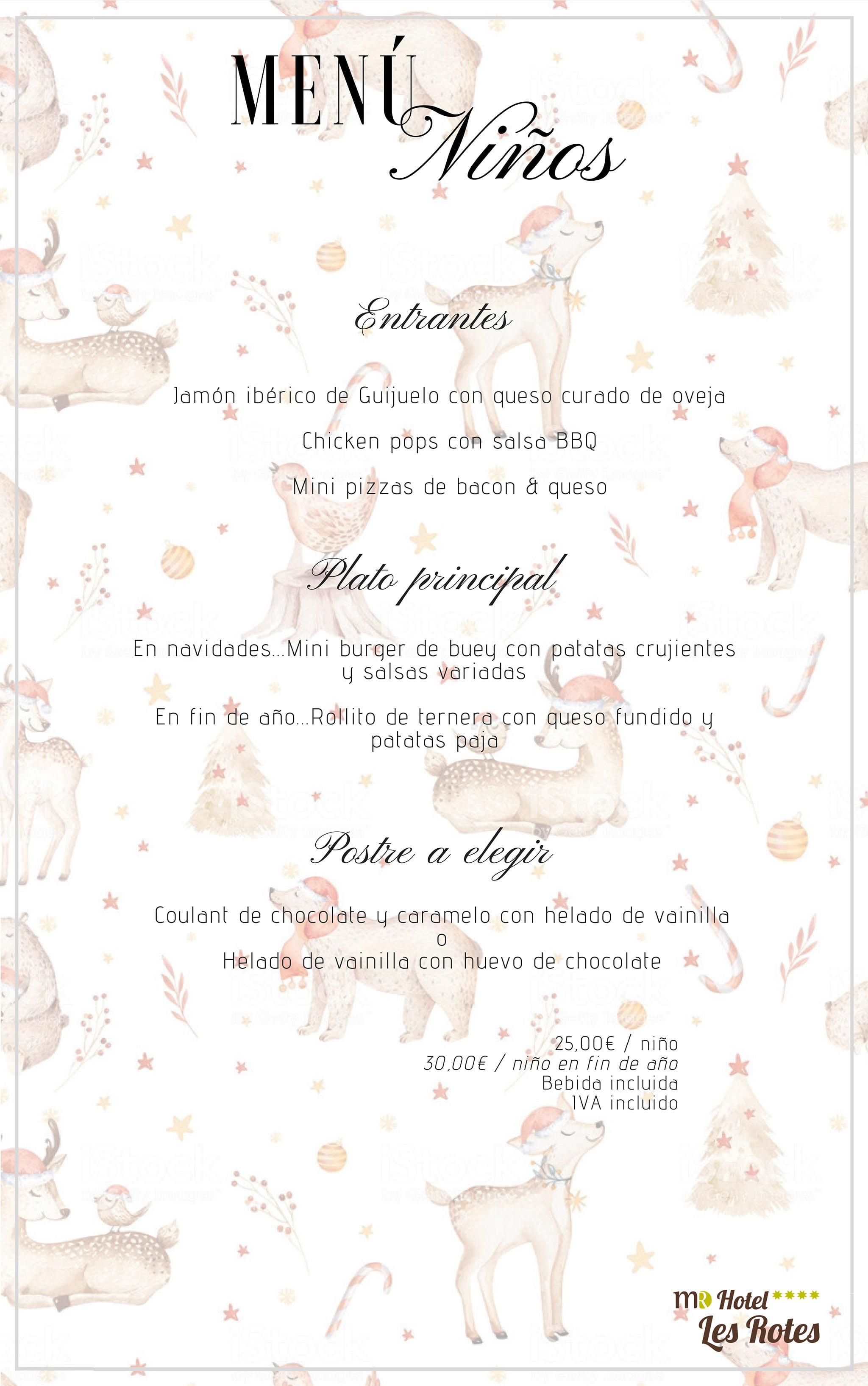 Menú per a nens per a les dates nadalenques - Hotel Les Rotes