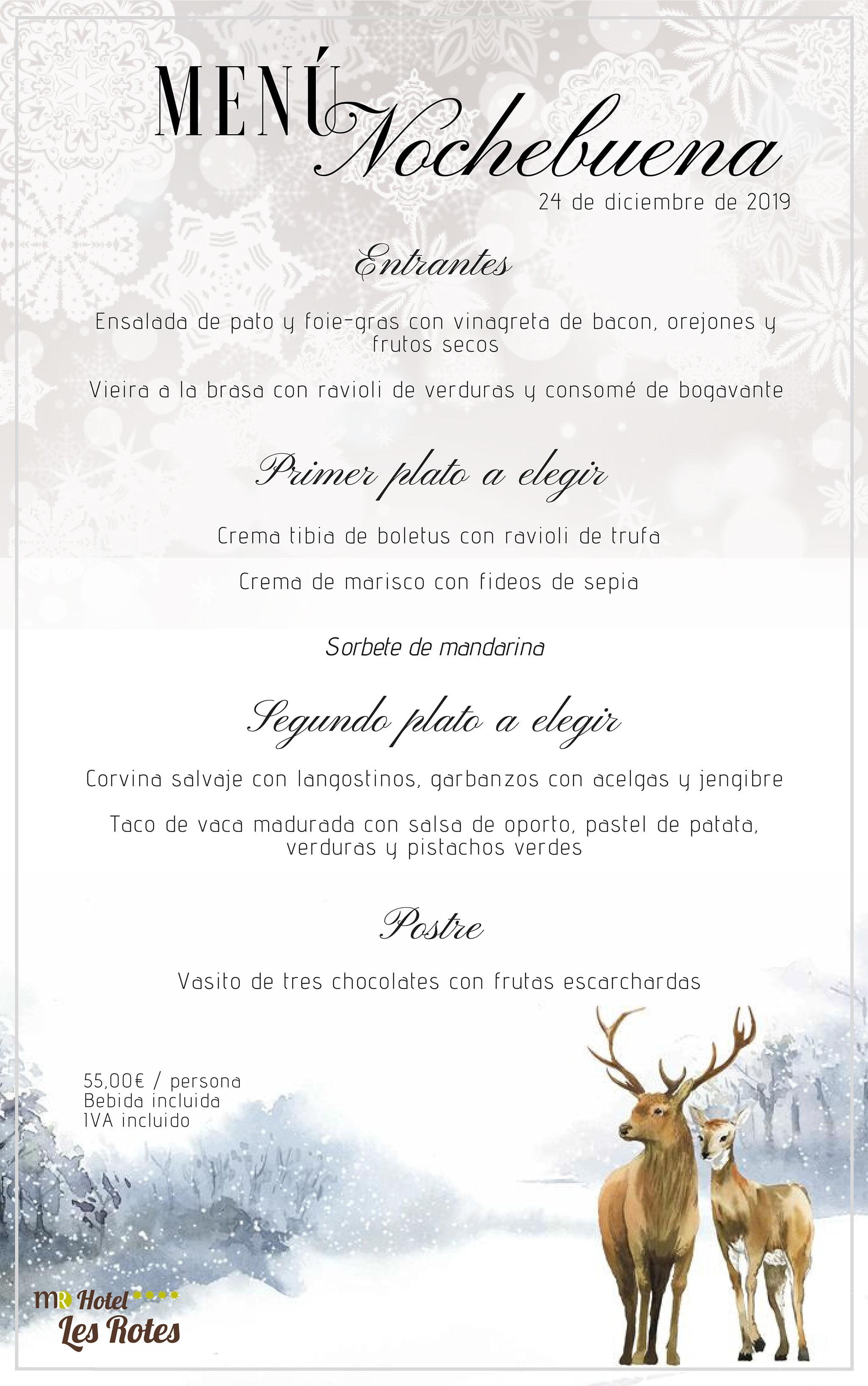 Menú de Nit de Nadal - Hotel Les Rotes