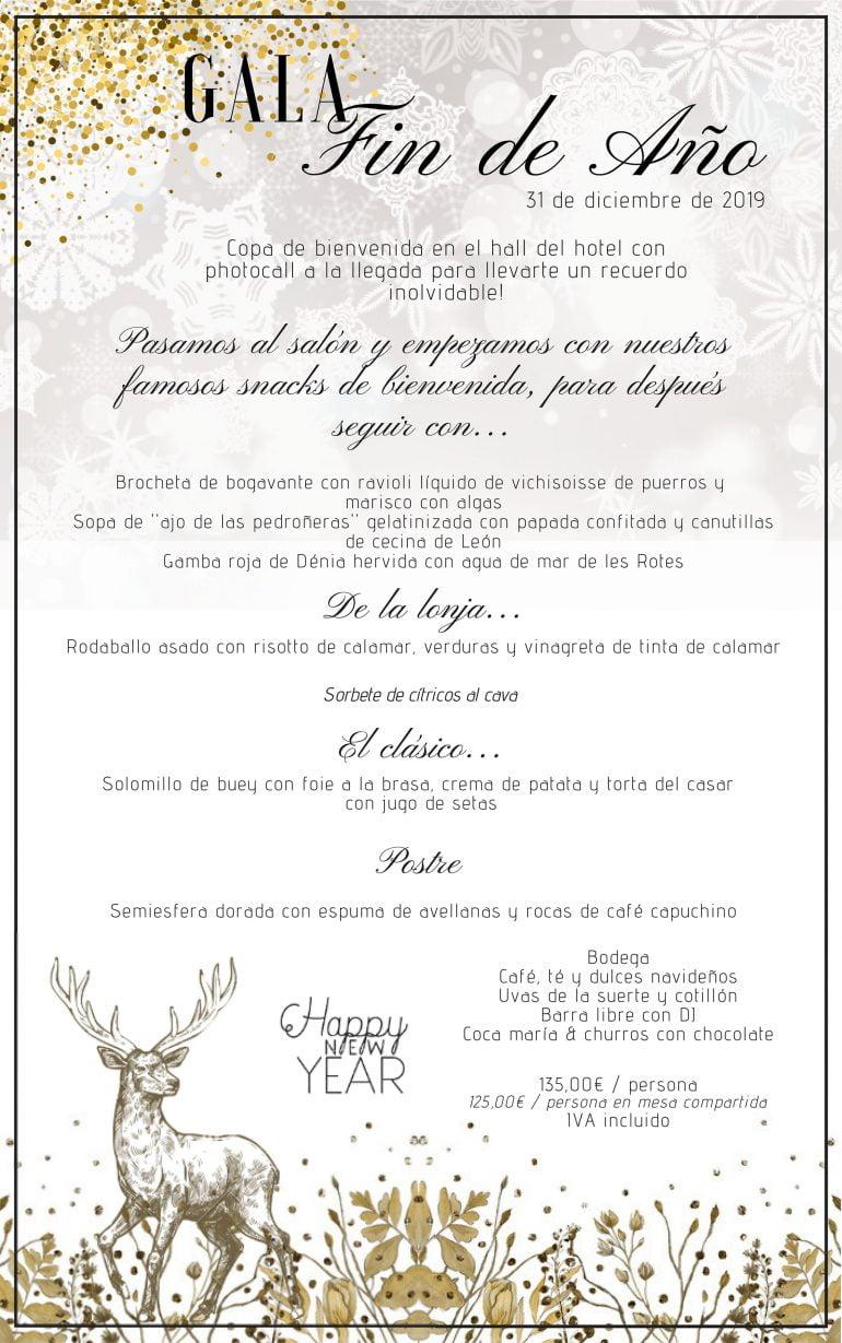 Menú de Gran Gala de Cap d'Any - Hotel Les Rotes