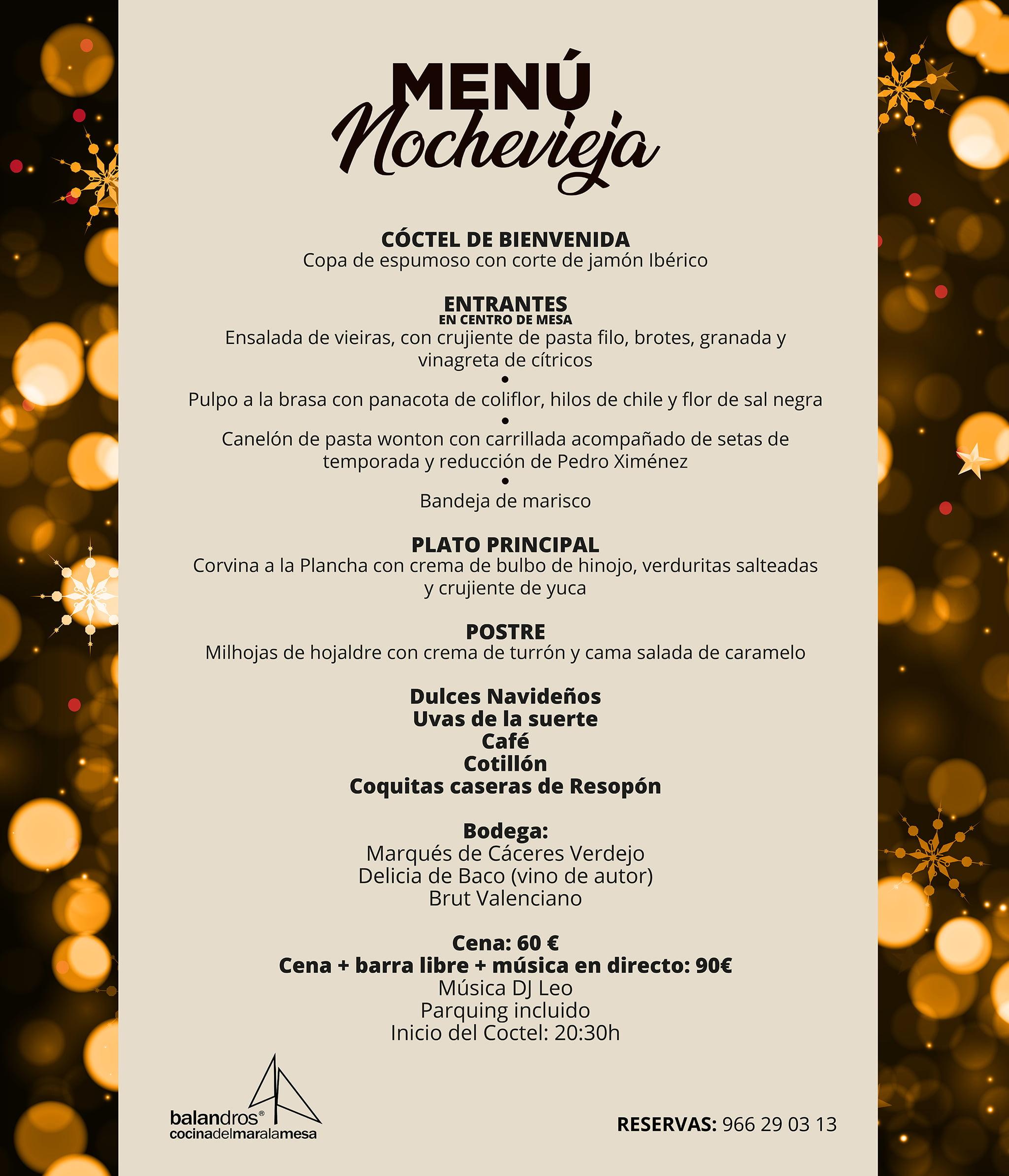Menú de Nochevieja en Restaurante Balandros