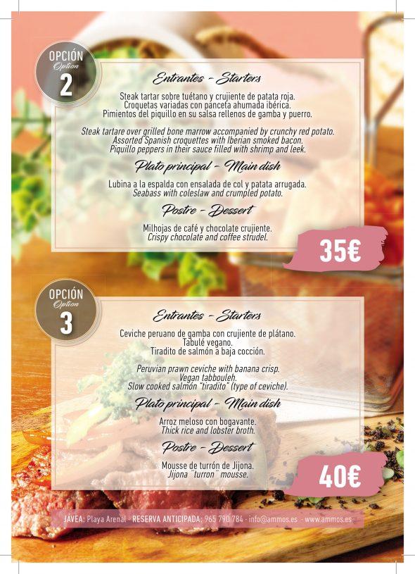 Imagen: Opciones 2 y 3 de menús de empresa en Restaurante Ammos