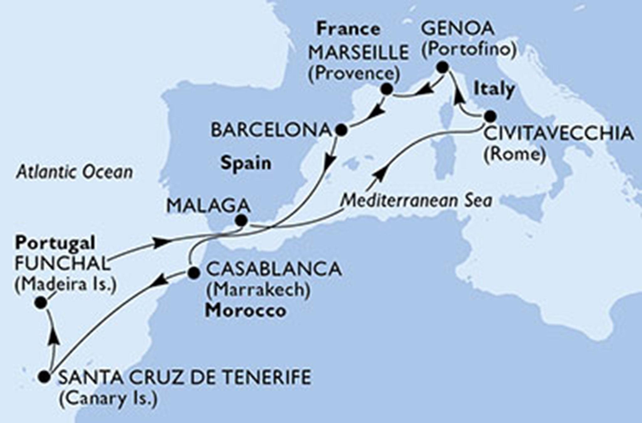 Crucero Poesia Canarias-Madeira – Falken Tours