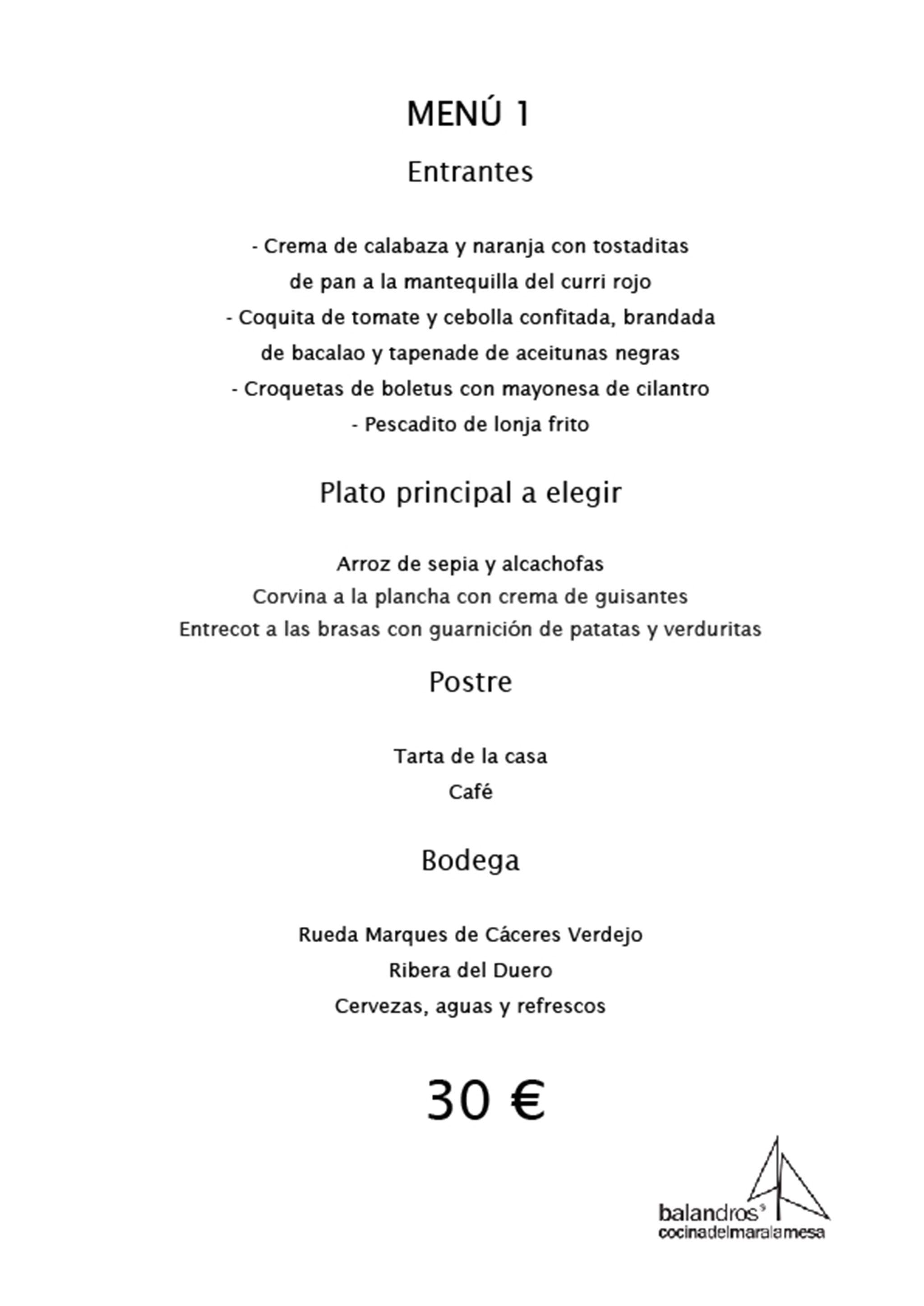 Menú de empresa por 30€ en Restaurante Balandros