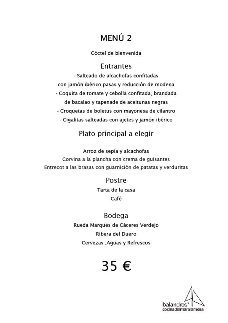 Menú de empresa por 35€ - Restaurante Balandros