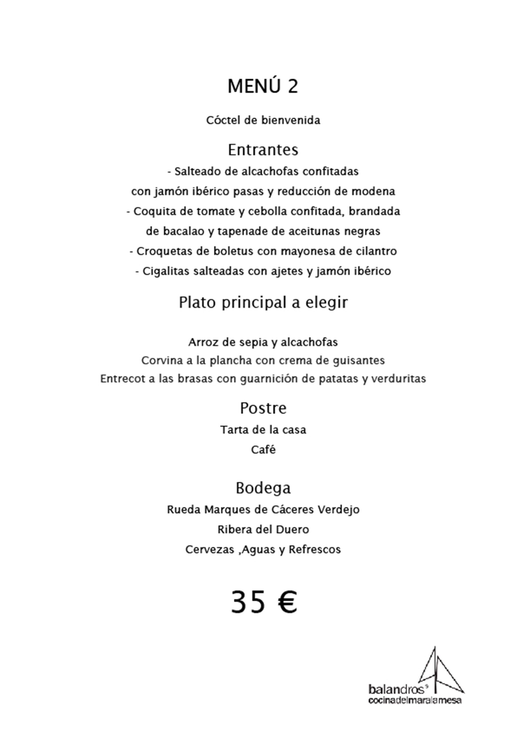 Menú de empresa por 35€ – Restaurante Balandros