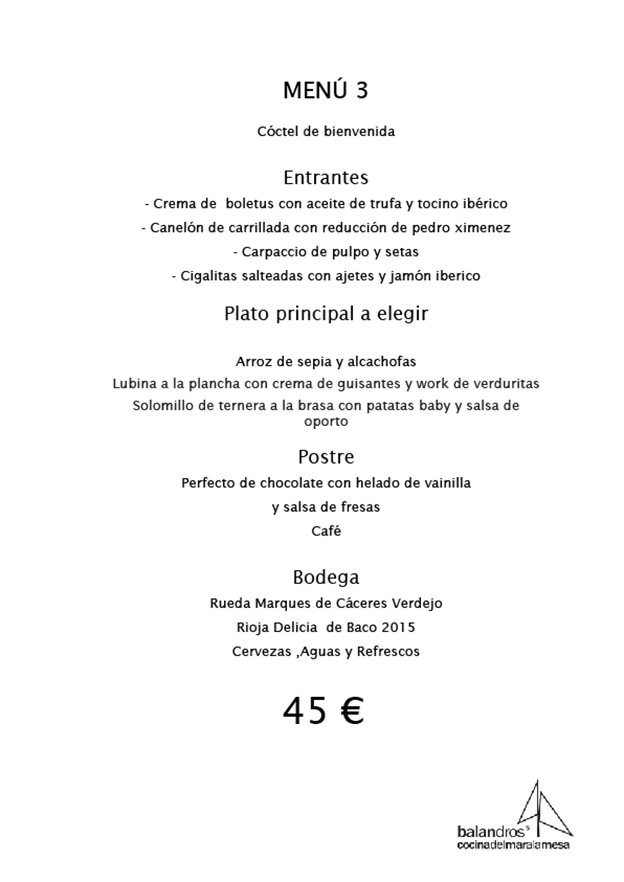 Menú de empresa por 45€ – Restaurante Balandros
