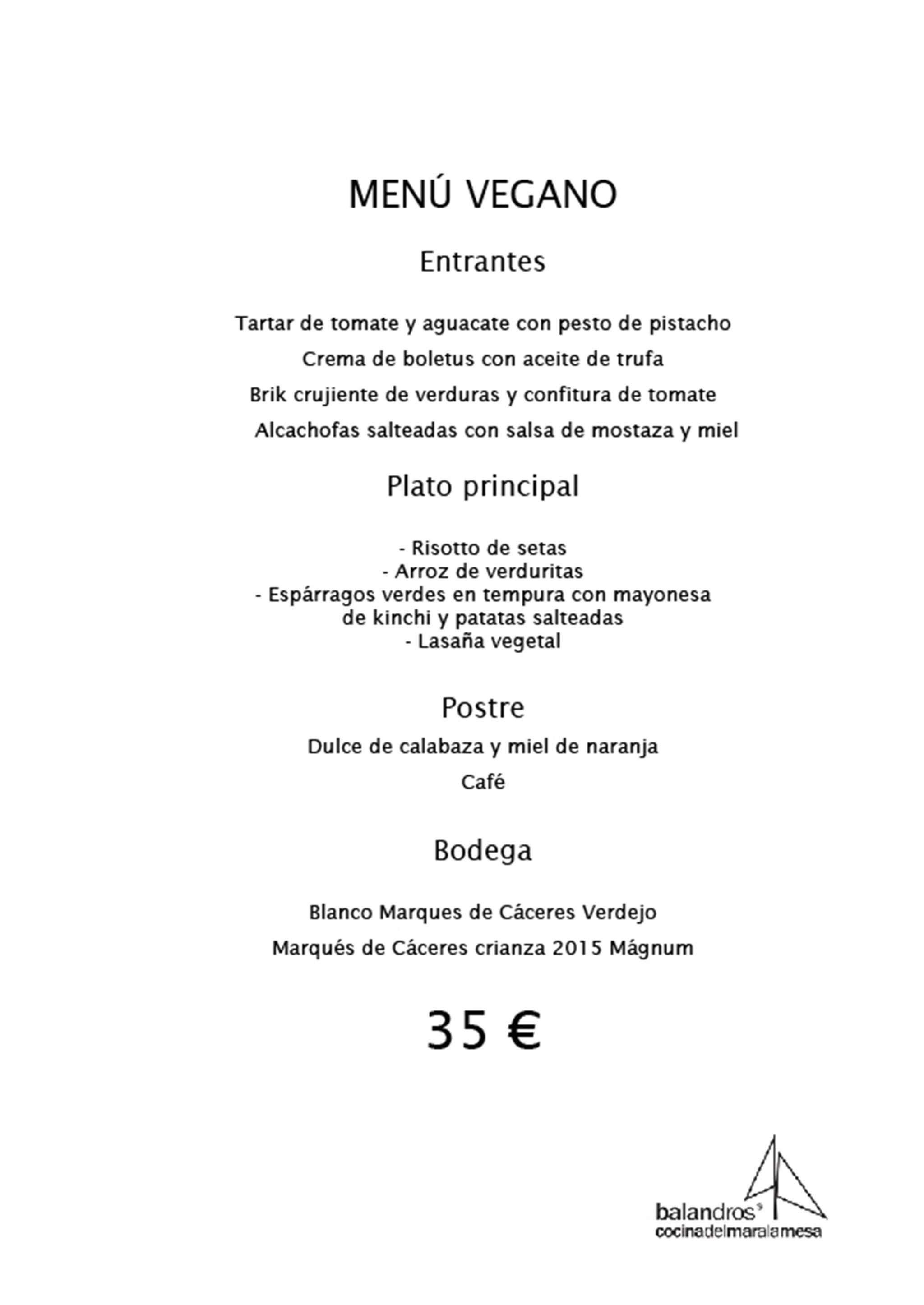 Menú de empresa vegano – Restaurante Balandros