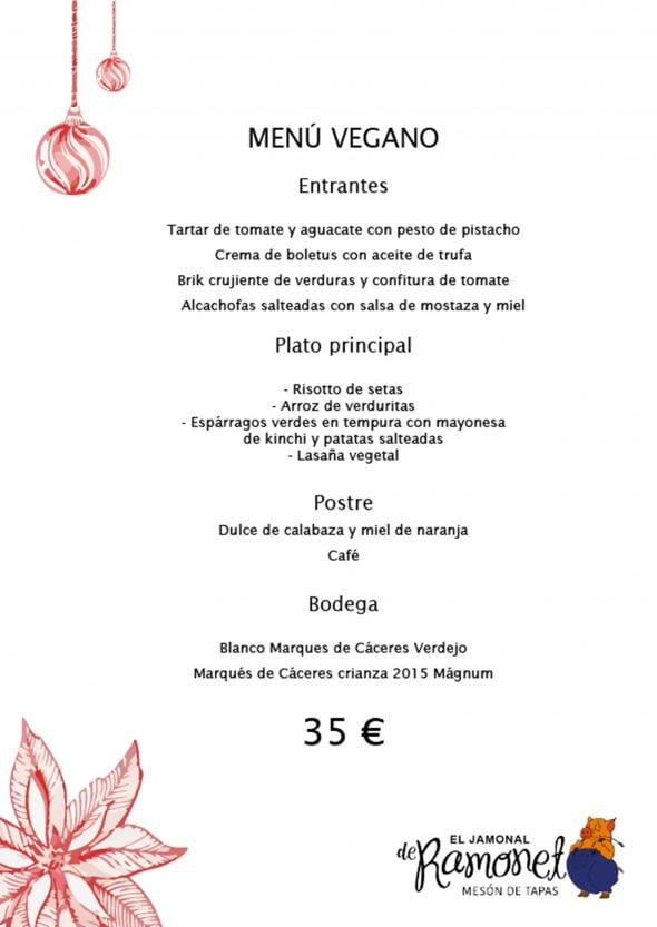 Imagen: Menú de empresa vegano en El Jamonal de Ramonet