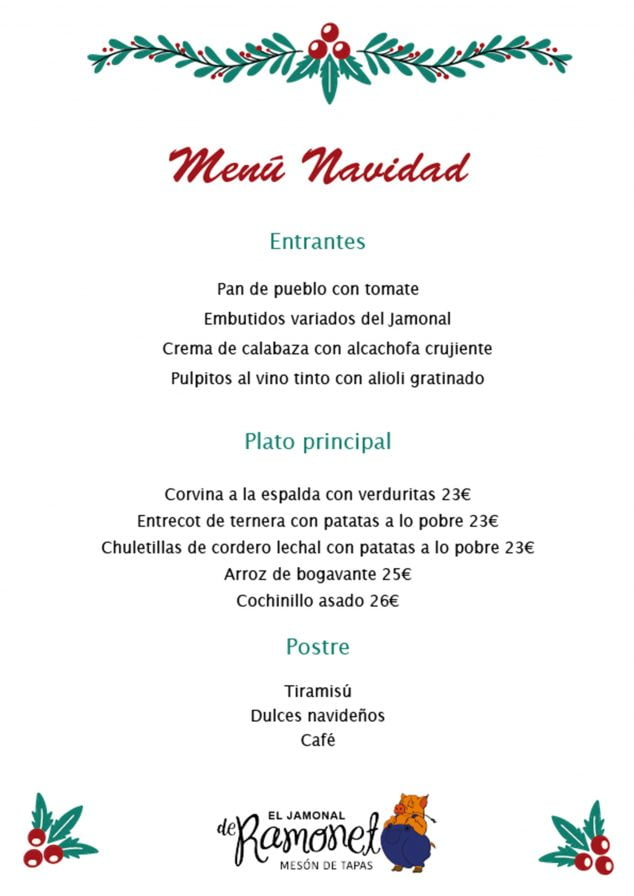 Imagen: Menú de Navidad - El Jamonal de Ramonet