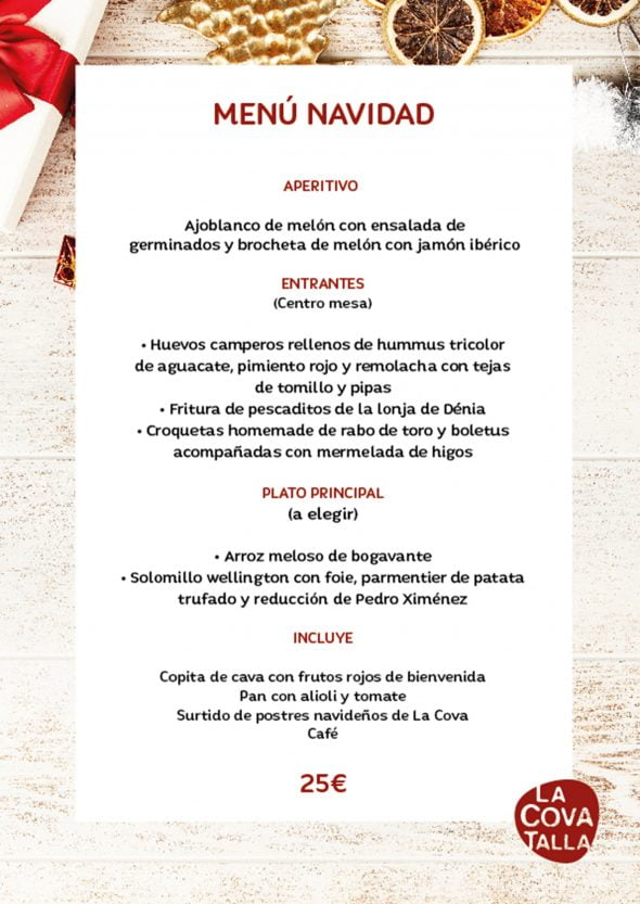 Image: La Cova Tallà Christmas menu