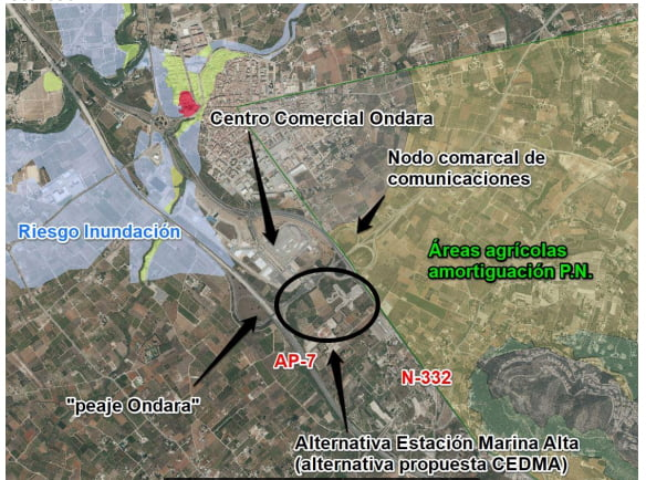 Imagen: Propuesta de CEDMA para ubicar la Estación terminal del Tren de la Costa