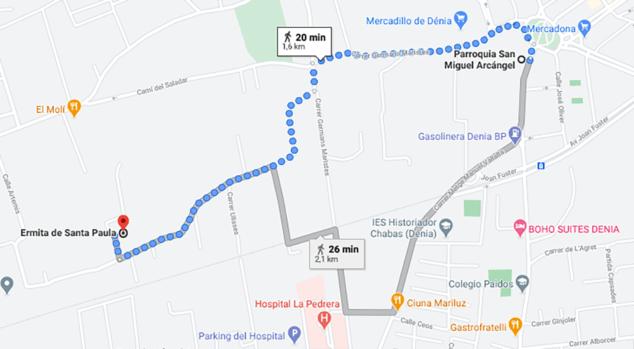 Imagen: Itinerario marcado de la Romería de Santa Paula de Dénia, desde la Parroquia de San Miguel hasta la Ermita de Santa Paula