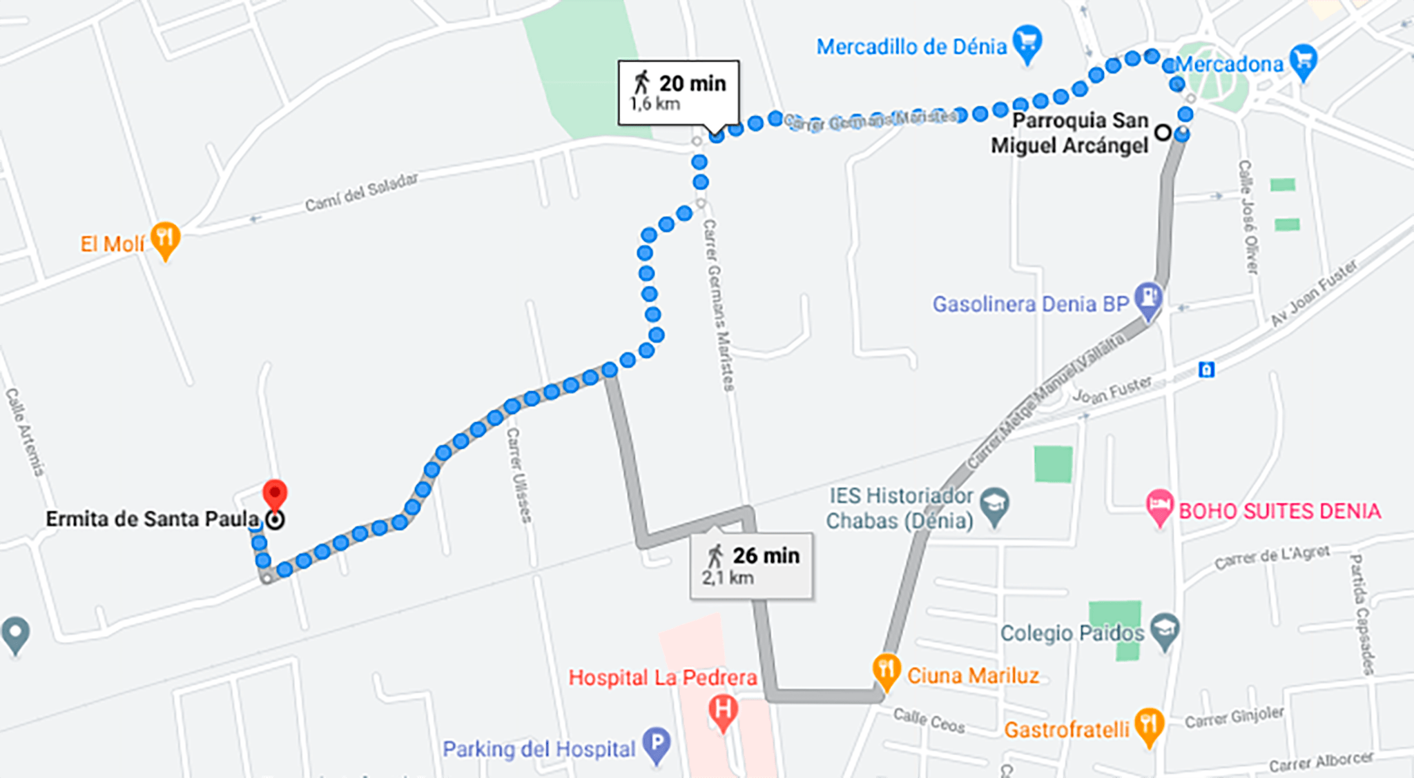 Itinerario marcado de la Romería de Santa Paula de Dénia, desde la Parroquia de San Miguel hasta la Ermita de Santa Paula