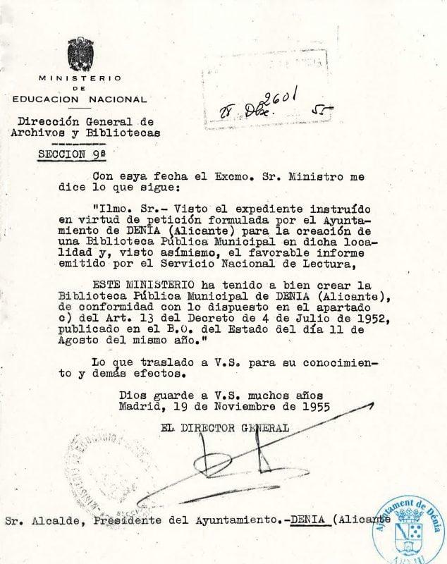 Imagen: Documento del Ministerio de Educación Nacional que aprueba la creación de una Biblioteca en Dénia