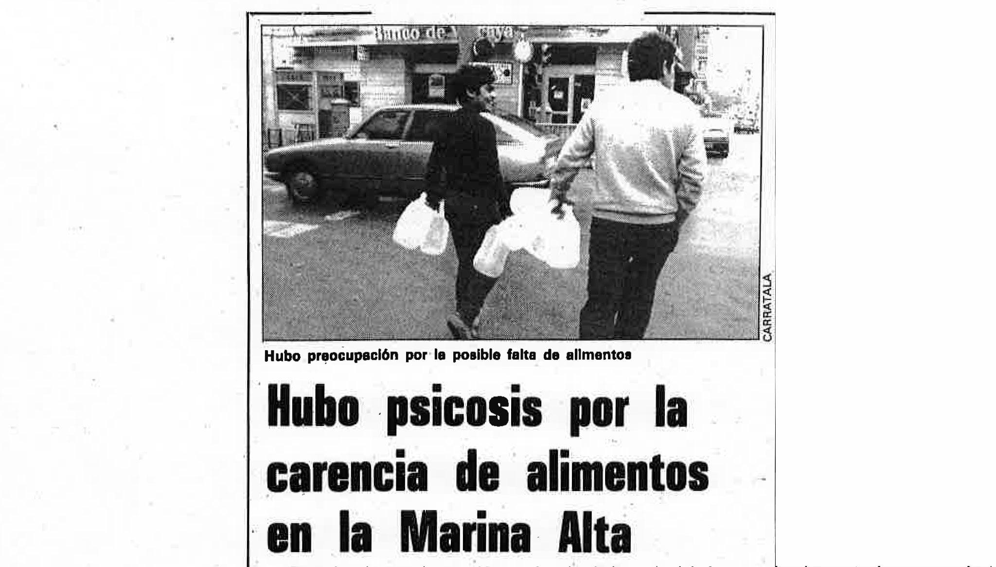 El 1985, molta gent va creure que patiria desproveïment d'aliments (Foto: Diari Informació, 17 novembre de 1985)
