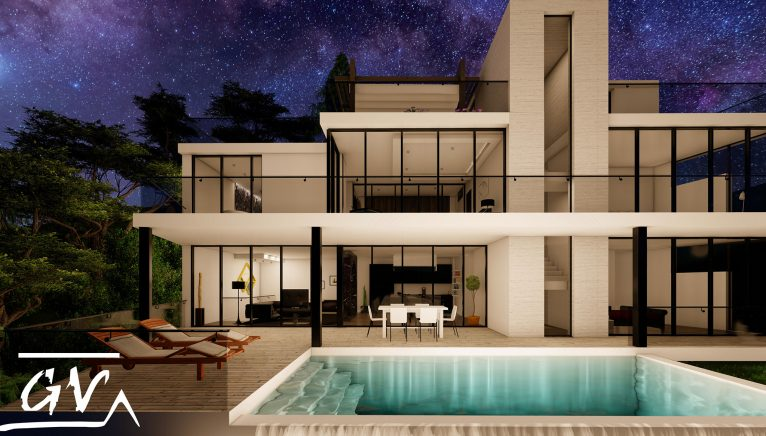 Facade of elegant design and infinity pool in a house in Altea - GV Arquitecnia