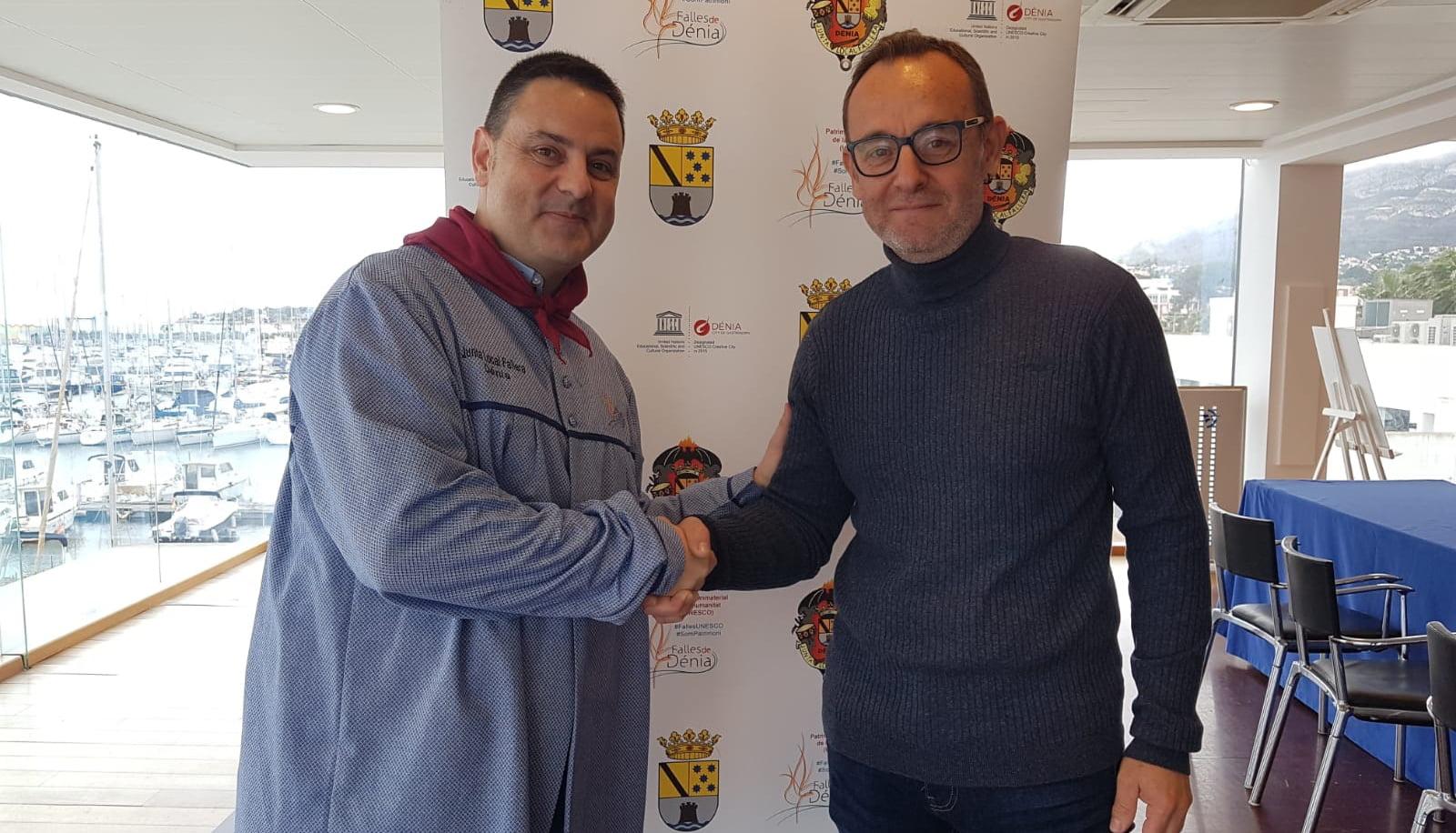 Jaume Pérez, pregonero 2020, avec Juan Salvador Pérez, président du conseil d'administration