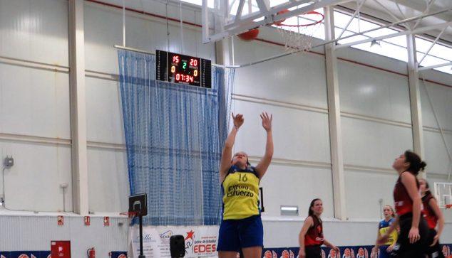 Imatge: Jugadora sènior de l'Dénia Bàsquet llançant a cistella