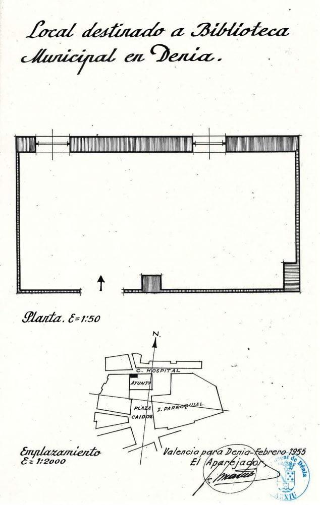 Imagen: Plano del primer local que ocupó la Biblioteca de Dénia (Fuente: Arxiu Municipal)