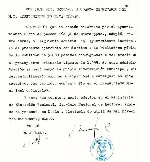 Imagen: Presupuesto municipal del Ayuntamiento en que se destina una partida a la Biblioteca (Fuente: Arxiu Municipal)