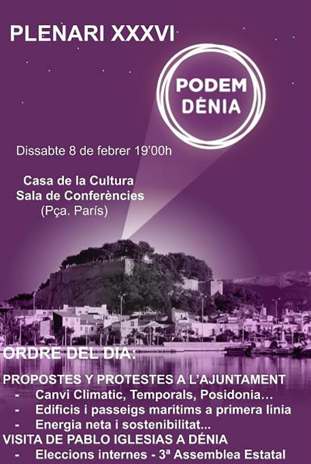Imagen: Cartel asamblea Podem Dénia