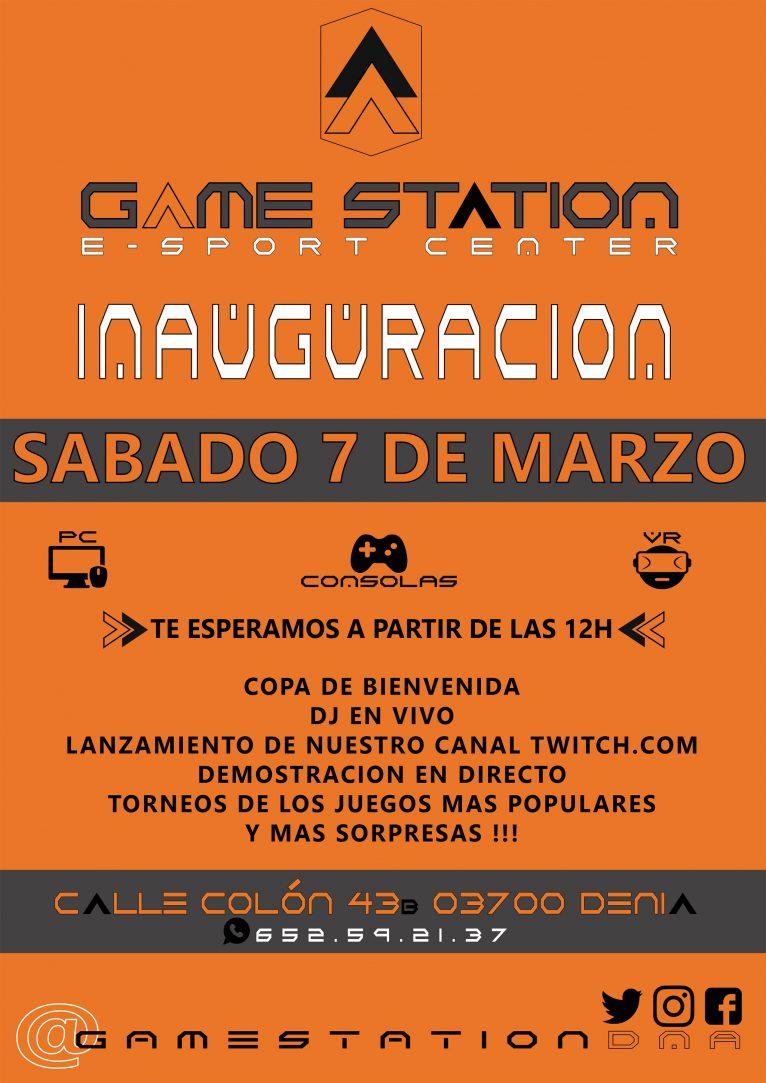 Cartel de la inauguración de Game Station en Dénia