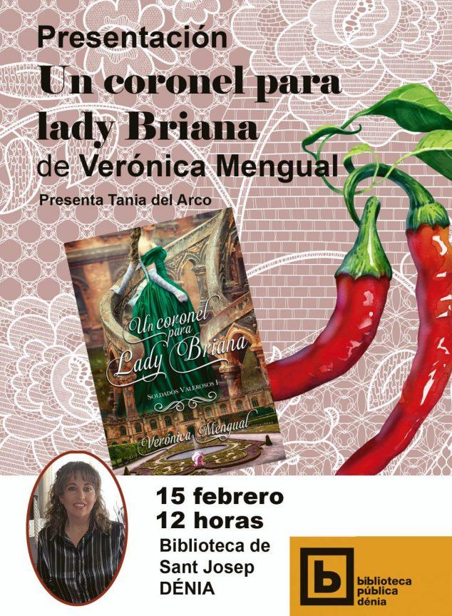 Imagen: Cartel presentación del libro 'Un Coronel para lady Briana' de Verónica Mengual