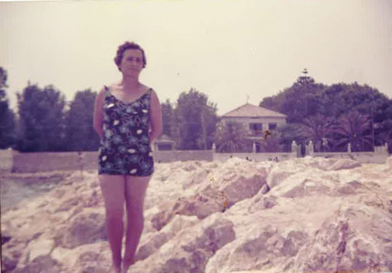 Teresa on the beach of Blay Beach in the 70s