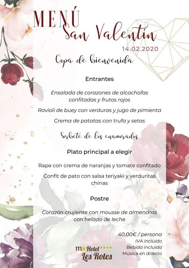 Imagen: Menú de San Valentín para el 14 de febrero de 2020 - Hotel Les Rotes