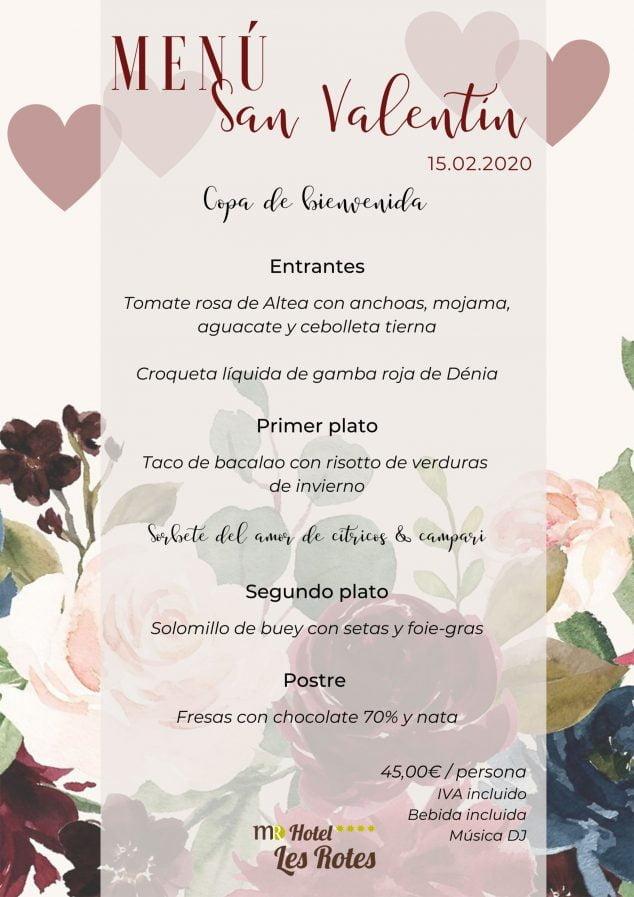 Imagen: Menú de San Valentín para el 15 de febrero de 2020 - Hotel Les Rotes