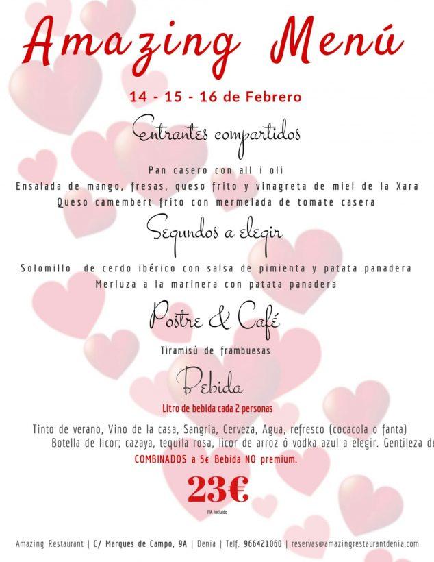Imagen: Menú de San Valentín en Restaurante Amazing