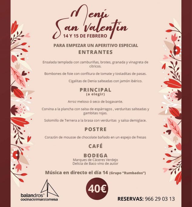 Imagen: Menú de San Valentín en el Restaurante Balandros