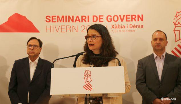 Afbeelding: Mónica Oltra maakt de doelstellingen van het semester bekend