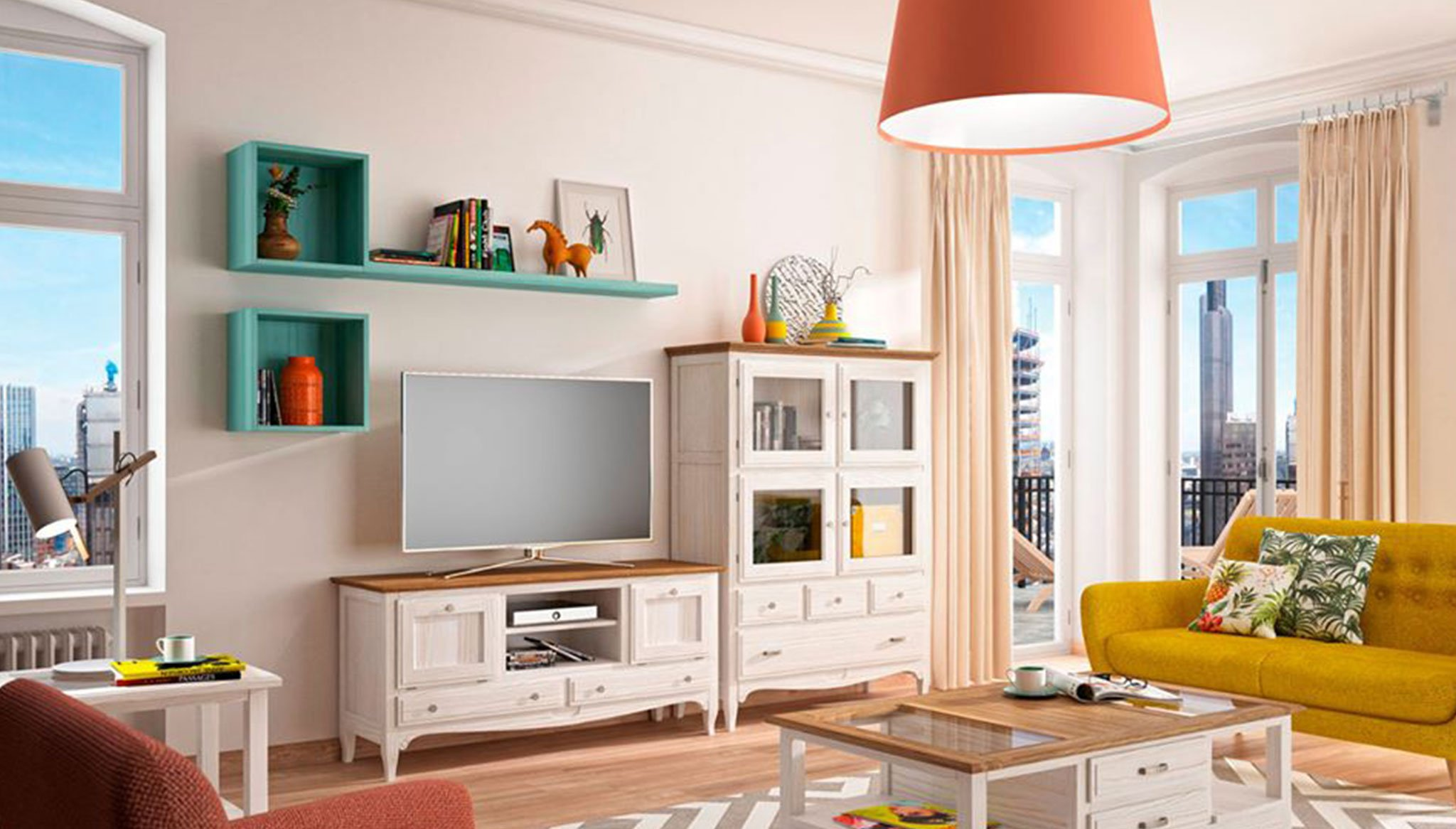 Living Room With More Vivid Color Combination Also In Harmony Muebles Martinez Denia Com