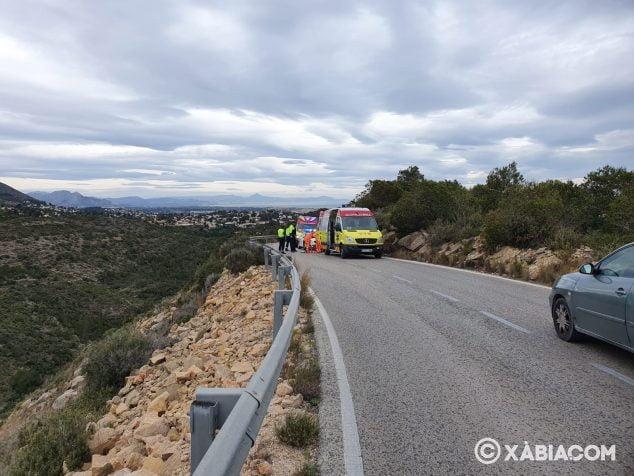 Imagen: Accidente de un motorista en la carretera de las planas