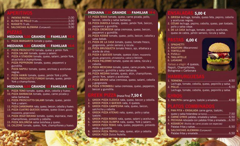 Carta Greek Pizza Dénia