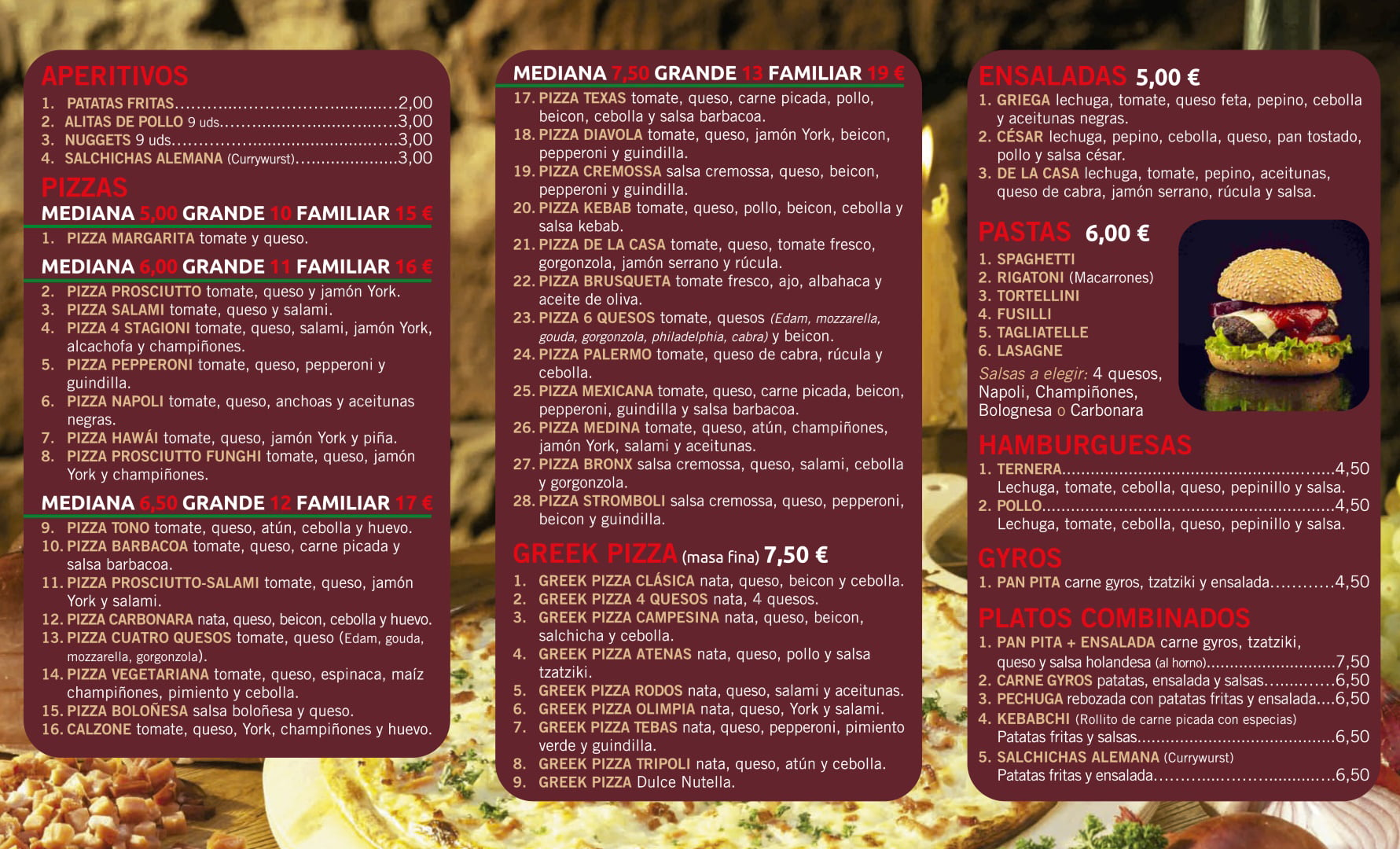 Greek Pizza Denia menu