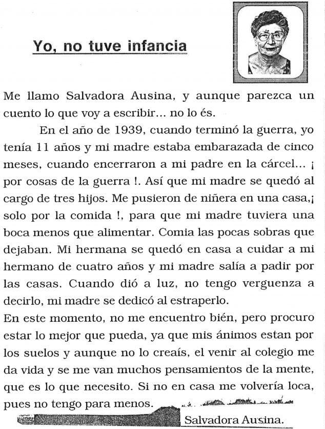 Imagen: Escrito de Salvadora Ausina, una alumna de la Formación para Adultos de Dénia, en 1998