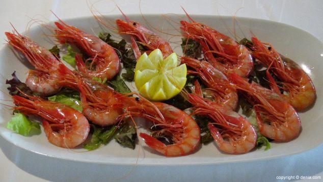 Image: Prawns in L'anfora Restaurant