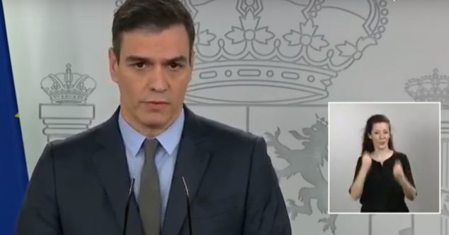 Image: Pedro Sánchez at a press conference