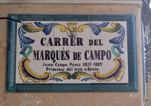 Imagen: Placa de la calle Marqués de Campo (Fuente: Wikimedia Commons)