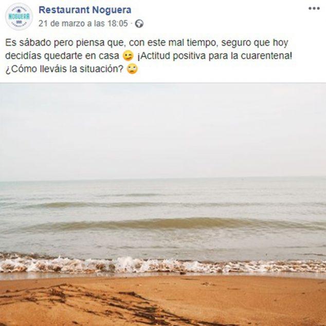 Imatge: Missatges positius i de bones vibracions: Restaurant Noguera omple les seves xarxes amb ells