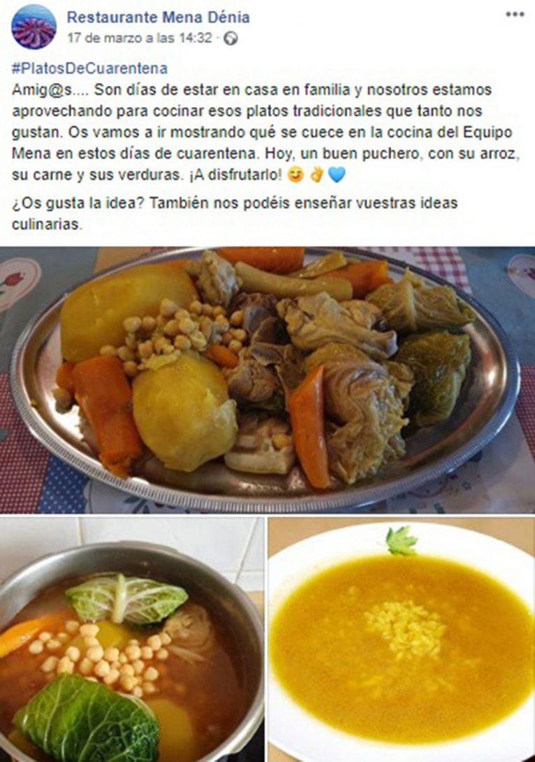 Publicació a Facebook de Restaurant Mena