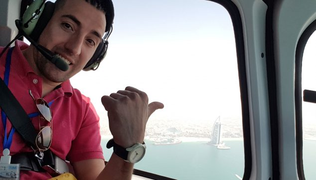 Image: Flying over the Burj Al Arab hotel, the only one in the world with 7 stars