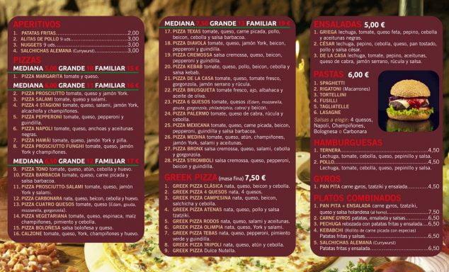 Imagen: Carta de Greek PIzza