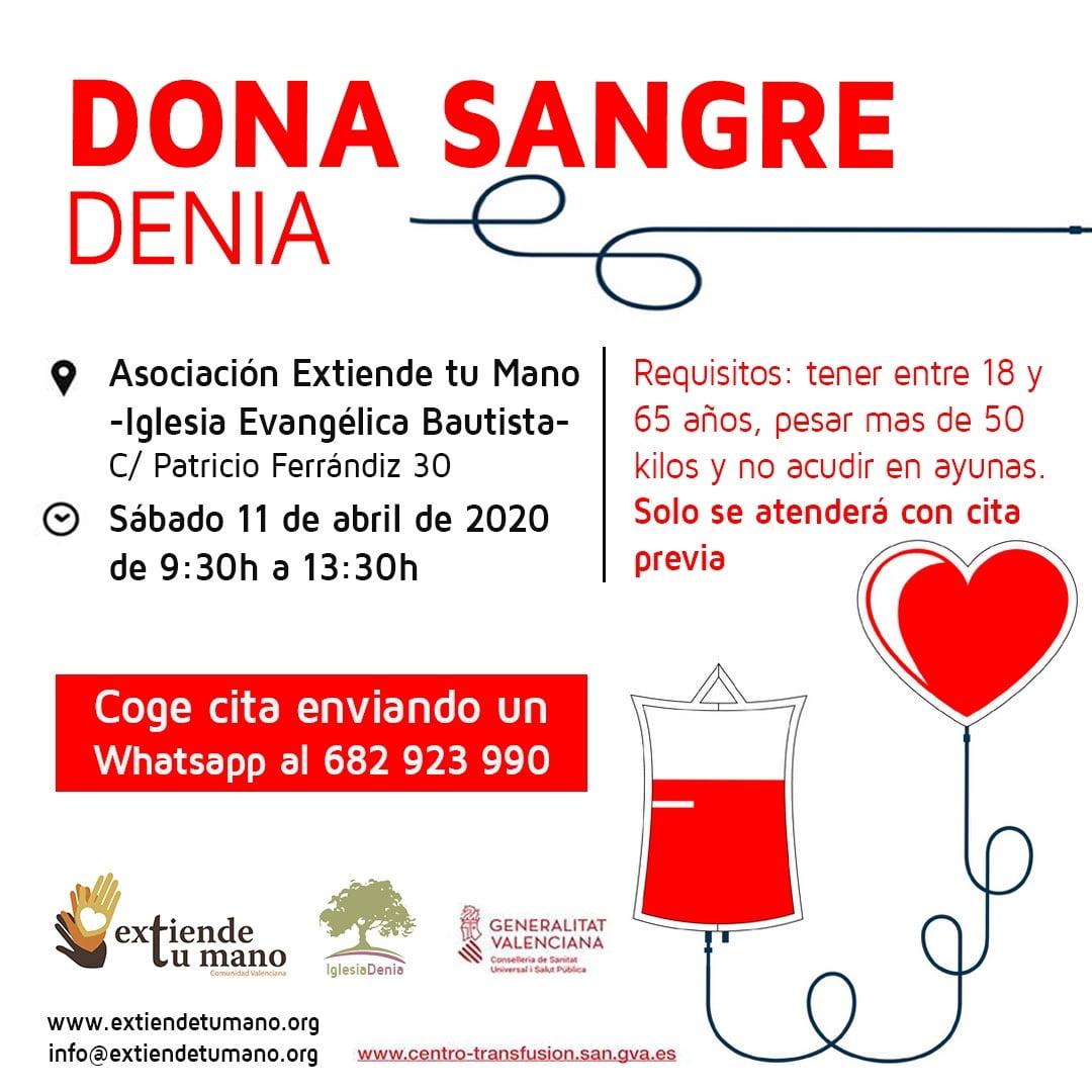 Cartel donación de sangre en Dénia