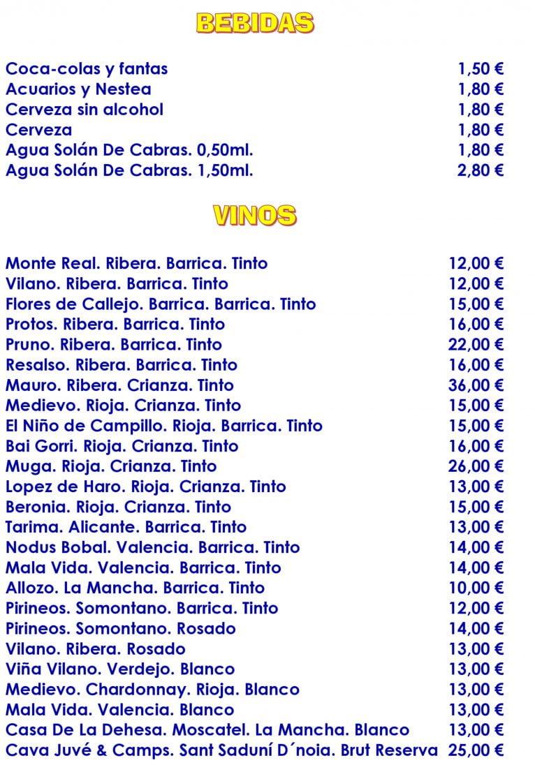 Wine and Drinks Menu - El Mosset