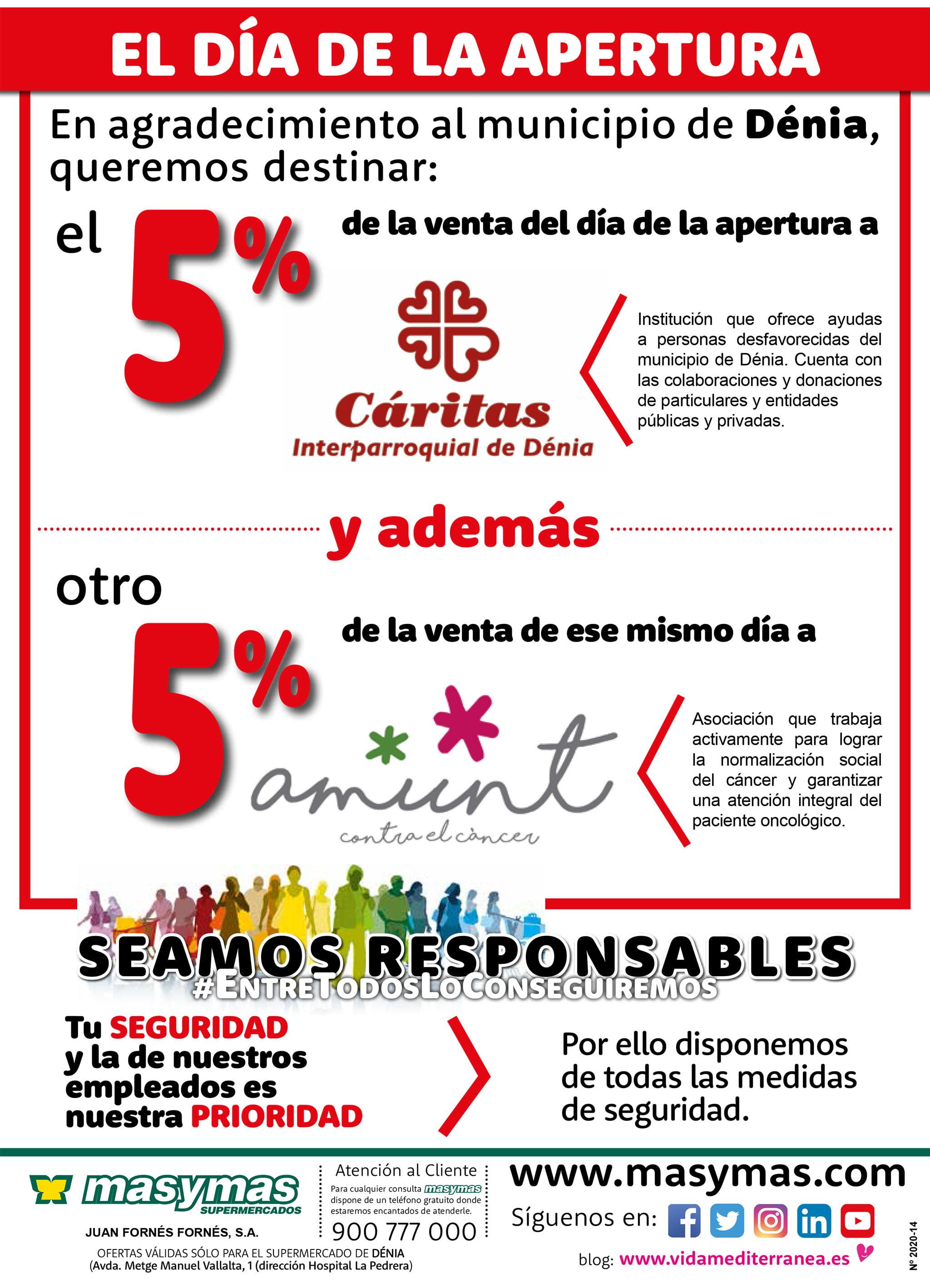 El dia de l'obertura de la nova Mas i Mas, el dijous 14 de maig, part dels seus beneficis es destinaran a causes socials